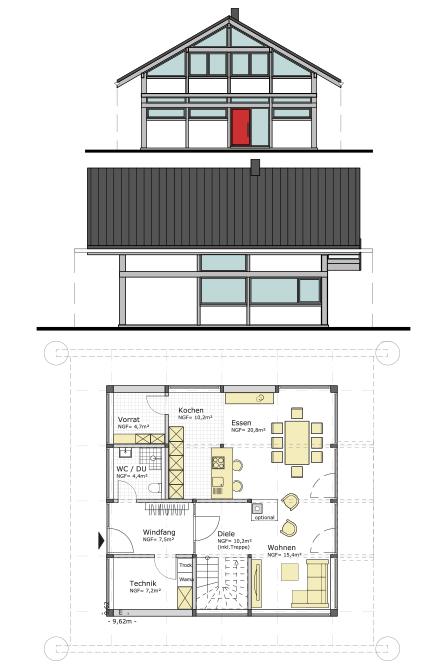 Holzskelettbauweise grundriss  Deutschlandweit Holzskelett-Hausbau Fachwerkhäuser | Concentus | 1991