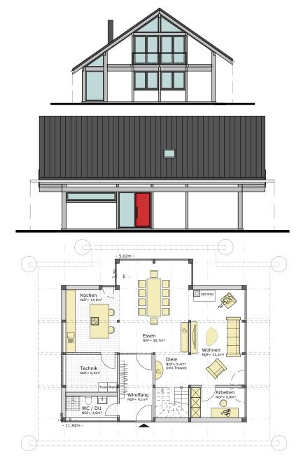 grundriss concentus modernes fachwerkhaus. Black Bedroom Furniture Sets. Home Design Ideas