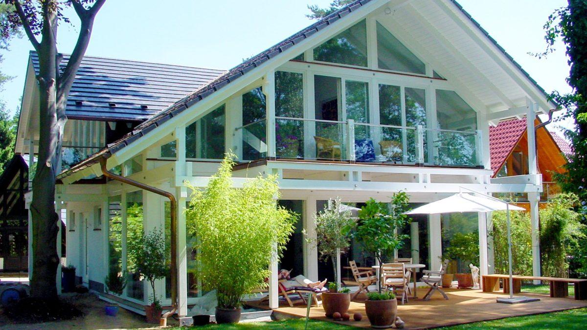 Architektenhaus Fachwerkhaus Holz Skelett Konstruktion 11