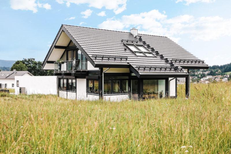 Concentus Fachwerkhaus Modern Schwarz Weiss Holz Glas Landhaus Modern