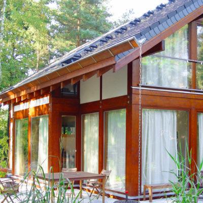 Concentus Holzskeletthaus Modernes Fachwerk Dunkel Braun