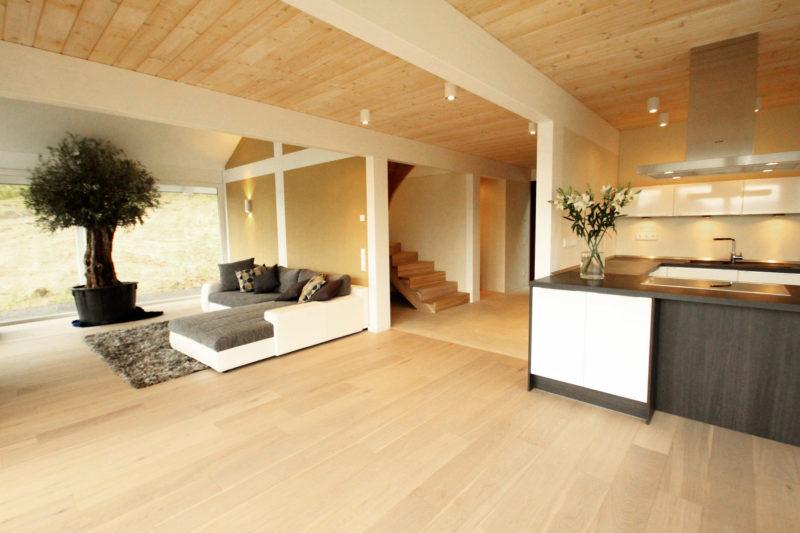 Holzskelettbau holz skelett haus concentus modernes for Modernes haus wohnzimmer