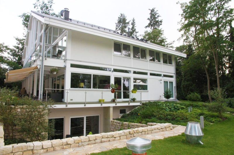 Modernes Fachwerkhaus Architektenhaus Hell Holz Skelett Konstruktion 13